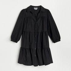 Reserved - Sukienka z falbanami - Czarny