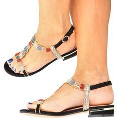 Sandały damskie Menbur bez obcasa złote z klamrą