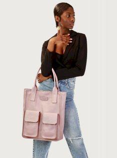 Różowa Torebka Skórzany Shopper Z Kieszeniami MAZZINI - Ravenna
