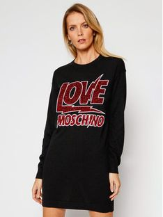 LOVE MOSCHINO Sukienka dzianinowa WS22R11X 0683 Czarny Regular Fit