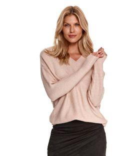 Klasyczny sweter damski z dekoltem w serek