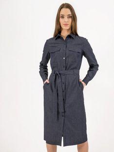 Bawełniana sukienka szmizjerka z kieszeniami na biuście Rabarbar