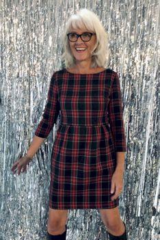 Sukienka mini MAŁA SZARA krata czerwona Risk Made in Warsaw