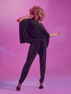 Eleganckie spodnie z połyskiem, z wiązaniem w pasie