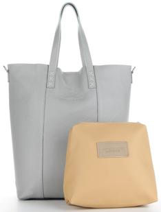 Vittoria Gotti Włoskie Torebki Skórzane na każdą okazję Uniwersalny Shopper XL z Kosmetyczką Jasno Szary (kolory)