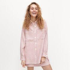 Reserved - Koszula typu shacket ze wzorem w pepitkę - Różowy