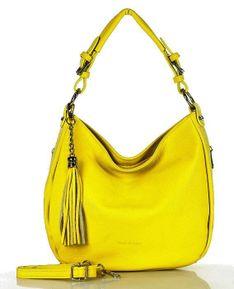 MARCO MAZZINI Miejska torebka skórzana sacco żółta