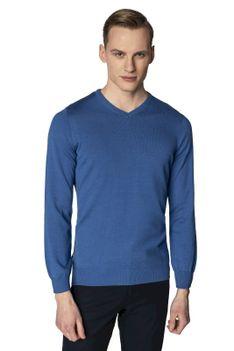 Niebieski sweter męski w serek Recman VITTEL