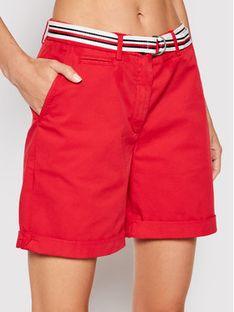 Tommy Hilfiger Szorty materiałowe Tencel WW0WW30482 Czerwony Regular Fit