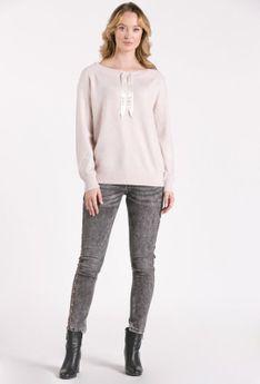 Połyskujący sweter ze ściągaczami
