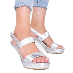 Srebrne metaliczne sandały na słupku w motywie zwierzęcym Liv srebrny