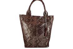Worek skórzany na ramię Shopper bag - Bordowy