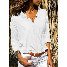 Biała bluzka damska Sandbella z kołnierzykiem