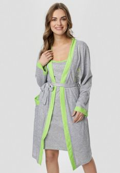 Szaro-Zielona Koszula Nocna Amythise
