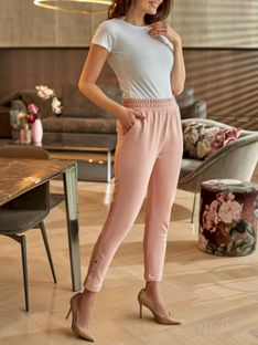 Damskie różowe spodnie dresowe z ozdobnymi nogawkami L'AF ROKEL