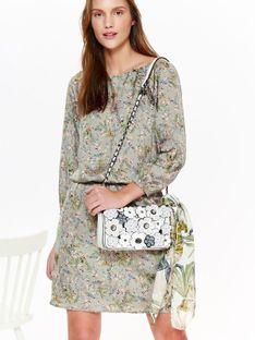 Sukienka damska z satyny w kwiatowy wzór, podkreślająca talię