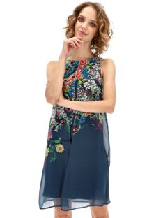 Granatowa zwiewna sukienka w kwiaty Desigual CANDICE
