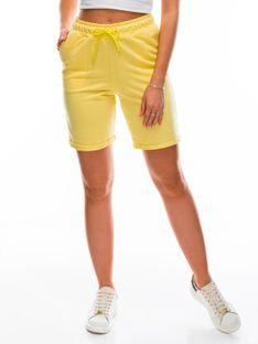 Krótkie spodenki damskie dresowe 011WLR - żółte