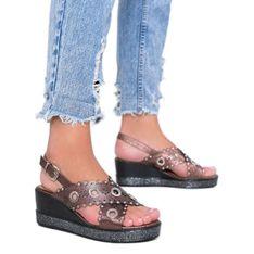 Brązowe sandały na koturnie metaliczne Mon
