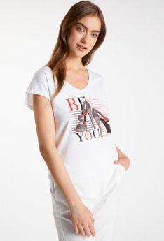 T-shirt z modowym nadrukiem