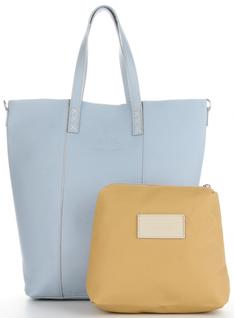 Vittoria Gotti Firmowe Torebki ze Skóry Naturalnej  Włoski Shopper w rozmiarze XL z Kosmetyczką Błękit (kolory)