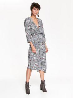 Sukienka we wzory, kopertowa, asymetryczna