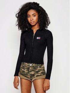 Tommy Jeans Sweter Tjw Zip Through DW0DW09803 Czarny Slim Fit