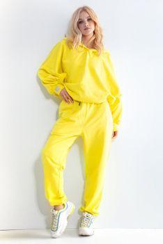 Dresy Bluza Oversize + Spodnie z Wysokim Stanem - Żółte