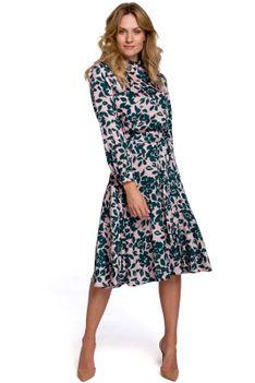 Rozkloszowana Sukienka w Kwiaty ze Stójką - Model 3