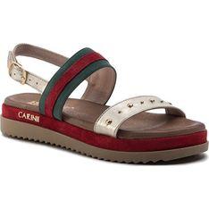 Sandały damskie Carinii z klamrą płaskie gładkie