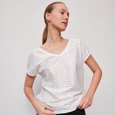 Reserved - Ażurowa bluzka - Biały