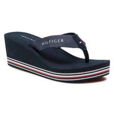 Japonki TOMMY HILFIGER - Stripes Wedge Beach Sandal FW0FW05655 Desert Sky DW5