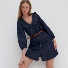 House - Denimowa sukienka z paskiem - Granatowy