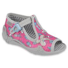 Befado obuwie dziecięce 213P128 różowe szare