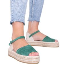 Zielone sandały na platformie Pearl River