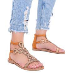 Camelowe sandały ozdobione cyrkoniami Cersi brązowe