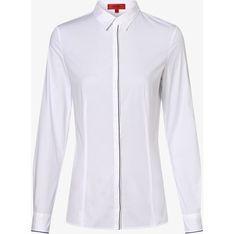 Hugo Boss koszula damska biała z długim rękawem z kołnierzykiem gładka