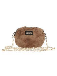 Futrzana brązowa torebka na łańcuszku Verde