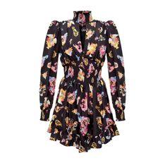 Barocco-printed flared dress