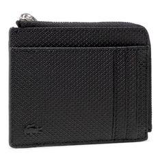 Duży Portfel Męski LACOSTE - Zip Around Cc Wallet NH2823CE Noir 000