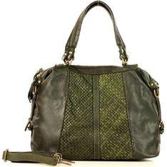 Shopper bag Merg zielona bez dodatków ze zdobieniami