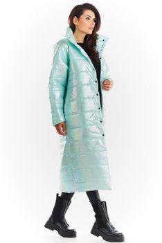 Połyskujący Pikowany Płaszcz Zapinany na Napy - Miętowy