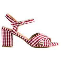 SHELOVET Modne Sandałki W Kratkę czerwone