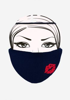 Maseczka ochronna wielorazowa z nadrukiem Lips 2 dark blue Marilyn