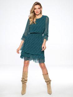 Sukienka z warstwową spódnicą z motywem serc L`AF MARGOT