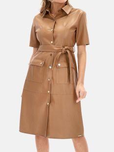 Brązowa koszulowa sukienka z skóry ekologicznej Rino & Pelle PACEY 832