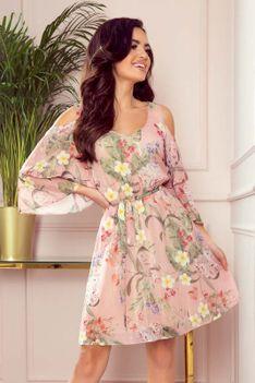 Różowa Szyfonowa Sukienka w Kwiaty z Szerokim Rękawem