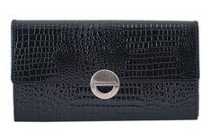 Damski portfel ze skóry lakierowanej Barberini's - Czarny