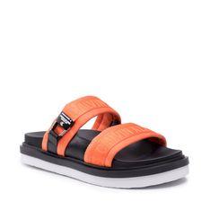 Klapki CALVIN KLEIN JEANS - Flat Sandal Twostraps Pes YM0YM00008 Vivid Orange SEA