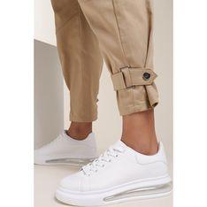 Buty sportowe damskie białe Renee płaskie sznurowane